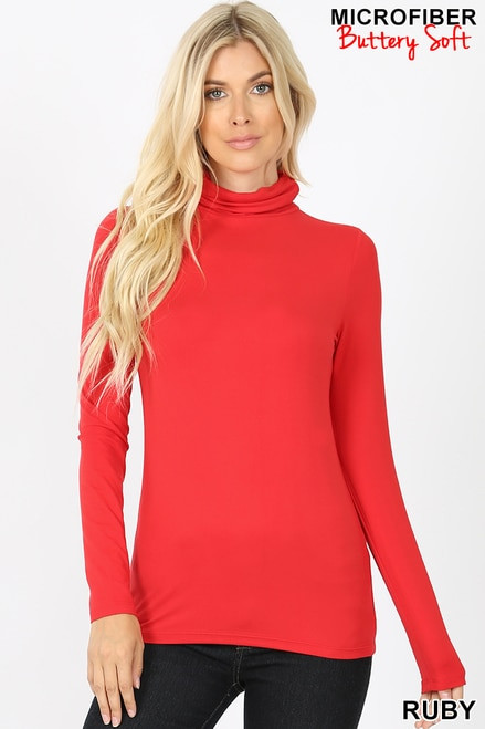 Brushed Microfiber Mock Neck Top Ruby X-Large
