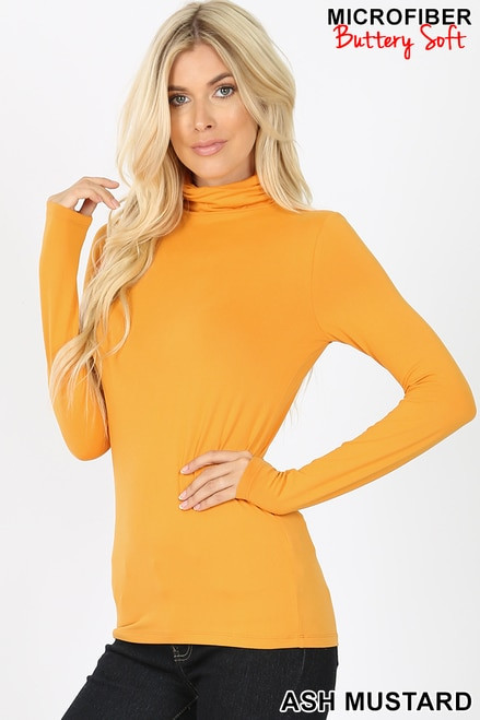 Brushed Microfiber Mock Neck Top Ash Mustard Medium