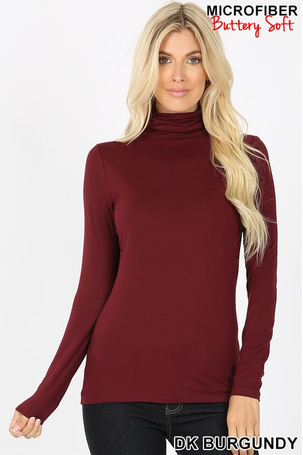 Brushed Microfiber Mock Neck Top Dark Burgundy Large