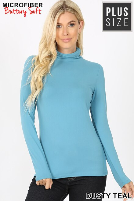 Brushed Microfiber Mock Neck Top Dusty Teal Size 1XL