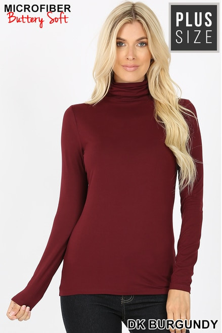 Brushed Microfiber Mock Neck Top Dark Burgundy Size 1XL