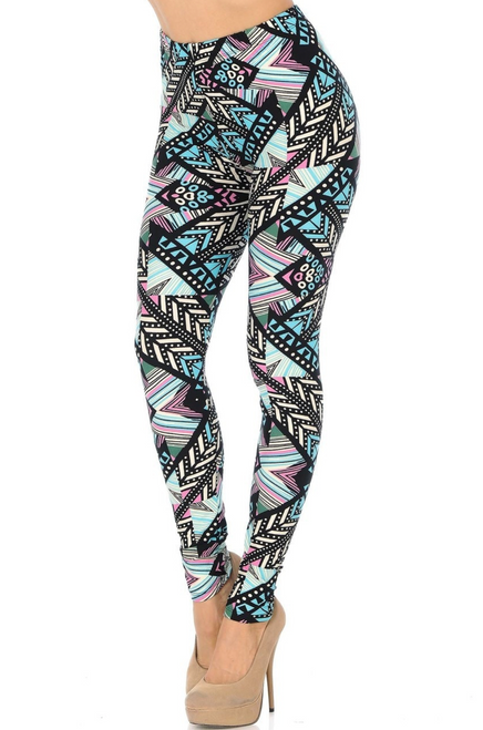 "Description Imported Comfortably Fits Sizes 0 - 10 (12 depending on body type) Pastel Tribal Arrow Color Scheme Full Length Tribal Plus Size Leggings Ultra Soft Stretchy Milk Silk Fabric Seamless Comfort Waist 92% Polyester 8% Spandex Model is wearing One Size Plus Measurements are 39D x 30 x 42 and height is 5' 7"" (170.2 cm) Hand Wash or Professional Wash"