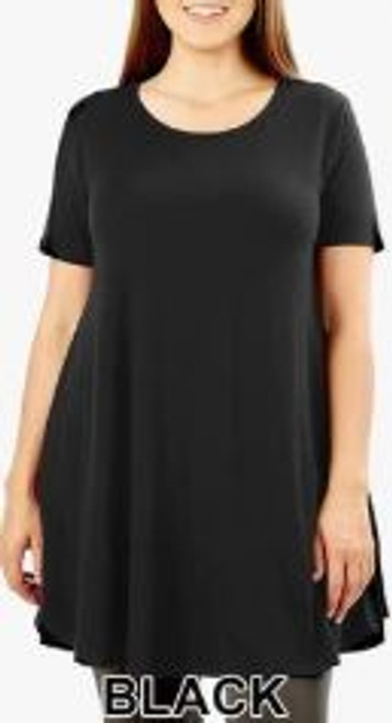"""Imported Longline Flared Top with Side Pockets Premium Plus Size Sleeveless Rayon Fabric Top  Round Neck Round Hem Top  Great Fit and a Wonderful Stand Alone Piece 55% POLYESTER 40% RAYON 5% SPANDEX Model is Wearing a 1XL Measurements are 38D x 36 x 46 and height is 5' 9""""  Hand Wash, Professional Wash or Machine Wash Delicate"""