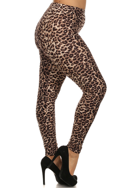 "Imported Fits Sizes 14 - 22 (24 depending on body type) Authentic Sexy Cheetah Fabric Design Ideal Edgy Leg Piece for Sassy Outfit Ideas Comfort Elastic Waist Full Length Animal Print Plus Leggings 92% Polyester 8% Spandex Model is wearing Plus  sizeMeasurements are 32A x 24 x 35 and height is 5' 7"" Professional Wash (Delicate) or Hand Wash"