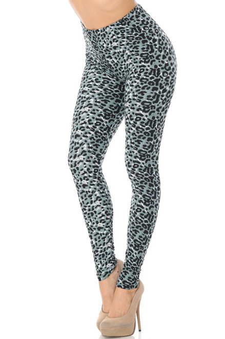 """Imported Fits Sizes 0 -10 (12 depending on body type) A Beautiful Snow Mountain Leopard Like Fabric Design Ideal Edgy Leg Piece for Sassy Outfit Ideas Comfort Elastic Waist Full Length Animal Print Leggings 92% Polyester 8% Spandex Model is wearing One Size Measurements are 32A x 24 x 35 and height is 5' 7"""" Professional Wash (Delicate) or Hand Wash"""