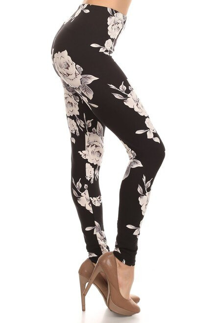 "Imported Fits Sizes 0 - 10 (12 depending on body type) Black and White Floral Design Ideal for Any Season Ultra Soft and Comfy Milk Silk Fabric 92% Polyester 8% Spandex Model is wearing a One Size Measurements are 32B x 24 x 34 height is 5' 7"" (170.18 cm) Hand Wash or Professional Wash"