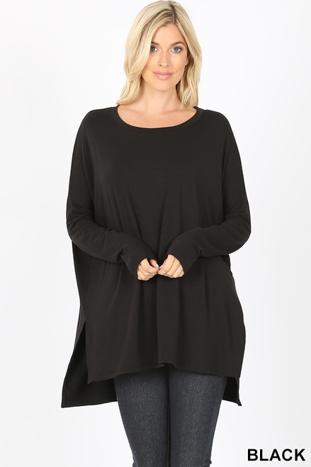 Dolman Sleeve Round Neck Side Cut HI-LOW Hem Top-Black-M
