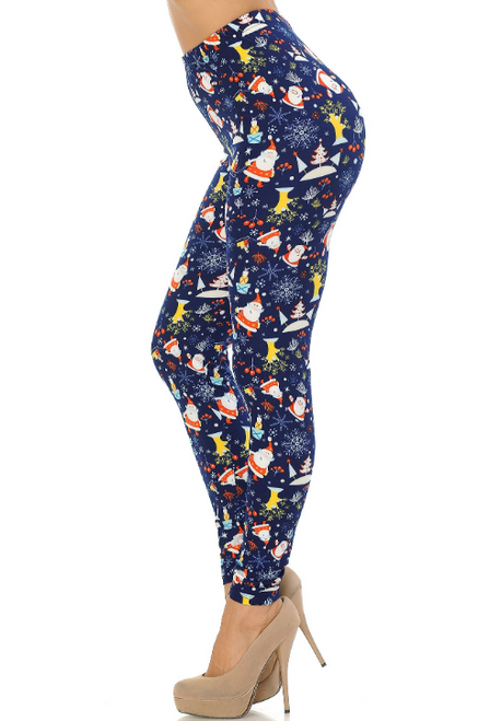 """Imported Comfortably Fits Sizes 0 - 12 (14 depending on body type) A Fun Santa Claus Holiday Print on a Deep  Navy Fabric Base Buttery Soft Milk Silk Fabric 92% Polyester 8% Spandex Model is wearing One Size Measurements are 32C x 26 x 34 and height is 5' 11""""  Machine Wash (Delicate) or Hand Wash For Best Results, Turn inside out, wash in cold water, hang dry."""
