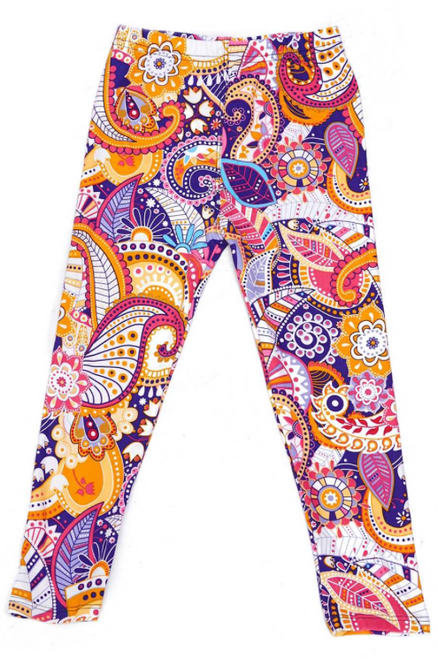 Imported A Magnificent Bright Multi Colored Sassy Paisley Fabric Design All Day Comfort Buttery Soft Fabric Elasticized Waistband 92% Polyester 8% Spandex Hand Wash or Professional Wash New Mix Small At Rest:  Inseam: 16 Inches Waist Radius: 9 Inches Waist Circumference: 18 Inches Hips: 12 Inches  Medium At Rest:  Inseam: 20 Inches Waist Radius: 9.75 Inches Waist Circumference: 19.5 Inches Hips: 13 Inches  Large At Rest:  Inseam: 23 Inches Waist Radius: 10.5 Inches Waist Circumference: 21 Inches Hips: 14 Inches