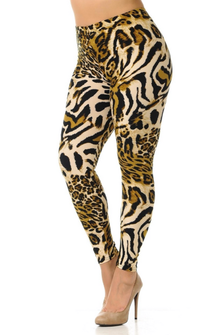 "Imported Fits Sizes 12 - 22 A Gorgeous Animal Print Fabric Design Full Length Buttery Soft Leggings Soft Luxurious Microfiber Fabric 92% Polyester 8% Spandex Model is wearing size One Size Measurements are 33B x 24 x 35 and height is 5' 7"" (170.2 cm) Hand Wash, Professional Cleaning"
