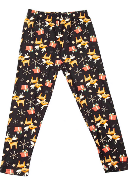 Kid's L Presents and Baby Reindeer Christmas Kids Leggings Size LARGE