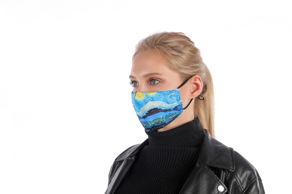 Van Gogh Mask with Filter Pocket  Soft Poly/cotton outer 100% Cotton inner lining