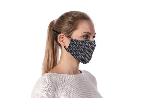 Steel mesh Honeycombed print. Soft poly cotton mask. adjustable elastic straps. Cotton filter pocket. Filters sold separately