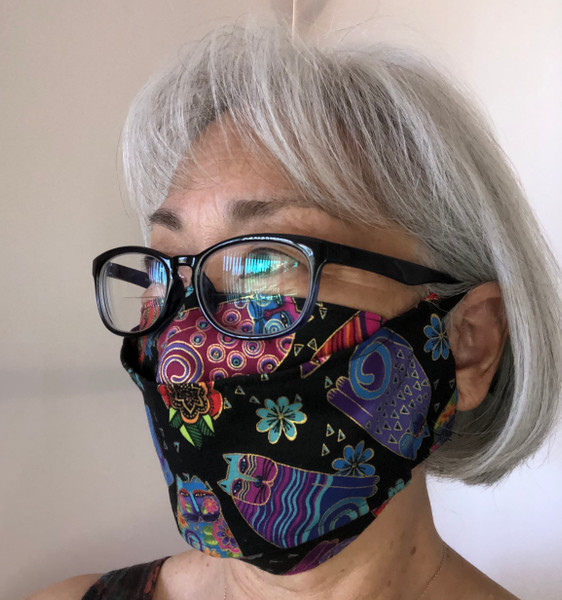 Bold and Vibrant  Laurel Burch cats standard size 3D style Mask covers nose and throat. Easy to talk through.