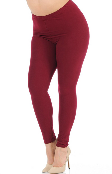 Buttery Soft Basic Solid Extra Plus Size Leggings - 3X-5X - New Mix BURGUNDY