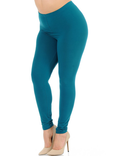TEAL Buttery Soft Basic Solid Leggings  Extra Plus Size 3X-5X