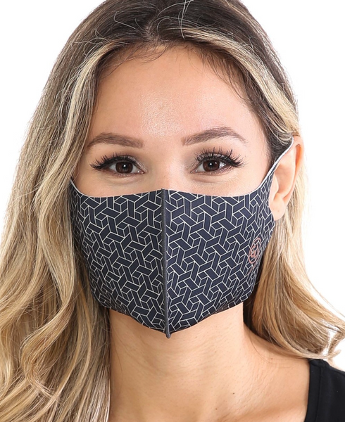 Copper Infused Black Multi Squared Face Mask front view