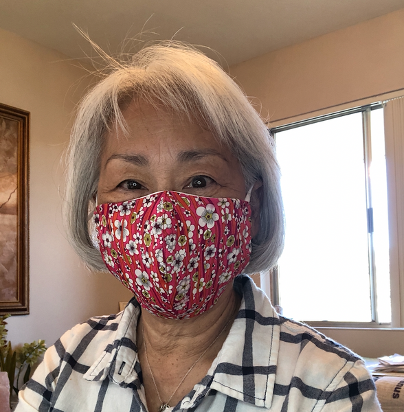Olson Style, Liberty of London Mask, Cherry Blossoms, Seen in Summer Short Version