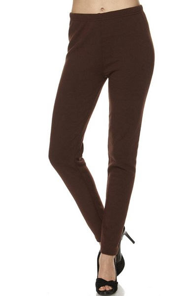 S/M BROWN SOLID WARM FUR LINED LEGGINGS SIZE S/M