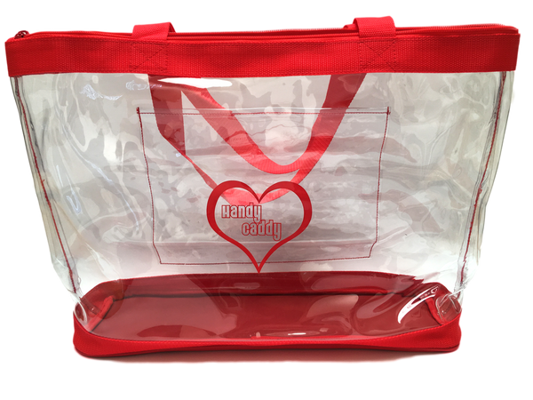 Newly designed Handy Caddy Tote with outside pocket and rolling cart sleeve.