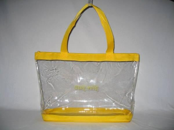 """Clear Vinyl Zippered Yellow Tote 18"""" fits Handy Caddy Deluxe"""