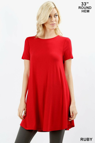 Round Neck Round Hem Short Sleeves Tunic with Pockets Ruby Small