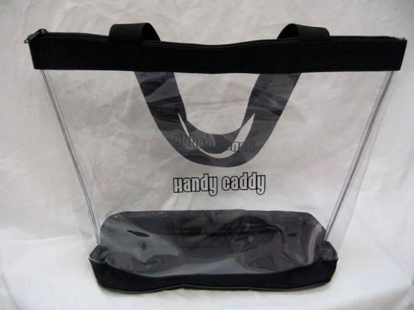 """Clear Vinyl Zippered Classic Black Tote 18"""" fits Classic Handy Caddy   CLOSE OUT SALE 50% OFF WHILE SUPPLIES LAST"""