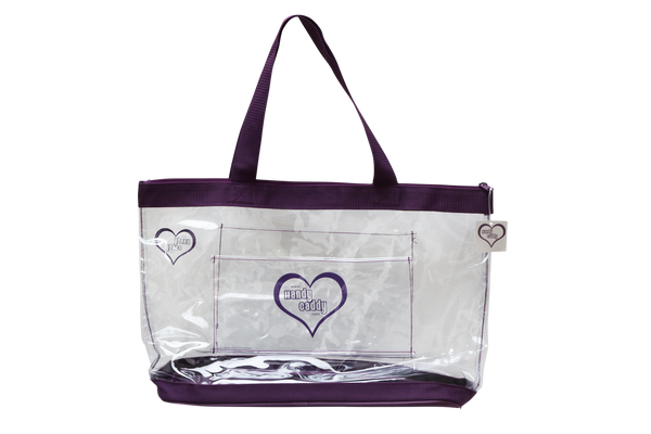 The new trending color Plum Tote has a rolling cart sleeve on one side, and a outer pocket on the other side. All see through. This new design feature is also available in Red and Steel Gray