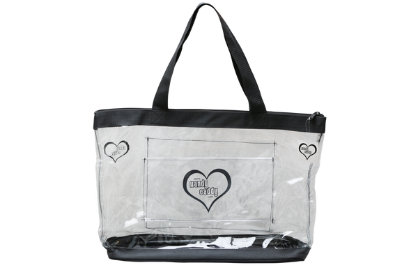 The new trending color Steel Gray Tote has a rolling cart sleeve on one side, and a outer pocket on the other side. All see through. This new design feature is also available in Plum and Classy Red.