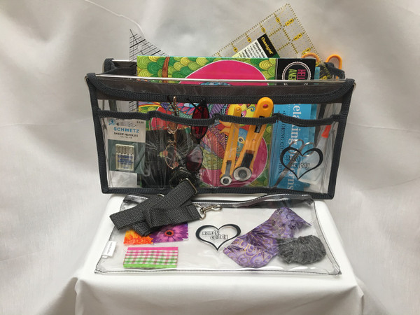 Deluxe Handy Caddy in Steel Gray with detachable strap and zippered project bag. Miscellaneous items are not included.