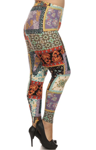 """Imported  Comfortably Fits Sizes 14 - 22 (24 depending on body type)  Fabulous Floral Patch Print Leggings  Super Colorful Design  Comfort Elastic Waist  92% Polyester 8% Spandex  Model is wearing size One Size Plus  Measurements are 39D x 30 x 42 and height is 5'7"""" (170.2 cm)  Hand Wash or Professional Wash"""