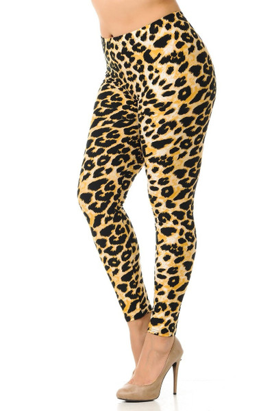 """Imported  Fits Sizes 14 - 22 (24 depending on Body Type)  A Gorgeous Animal Print Fabric Design  Full Length Buttery Soft Leggings  Soft Luxurious Double Brushed Microfiber Fabric  92% Polyester 8% Spandex  Model is wearing size One Size  Measurements are 33B x 24 x 35 and height is 5' 7"""" (170.2 cm)  Hand Wash, Professional Cleaning"""