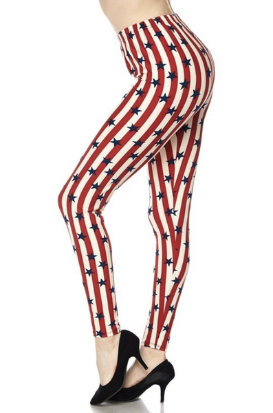 """Imported A Beautiful vertical USA Flag Design Full Length Leggings Soft Luxurious Microfiber Fabric 92% Polyester 8% Spandex Model is wearing a One Size Plus Measurements are 39D x 30 x 42 height is 5' 7"""" (170.2 cm) Hand Wash, Professional Cleaning"""
