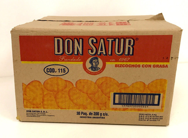 Don Satur Classic Biscuits Bizcochos Wholesale Bulk Box, 200 g / 7.1 oz ea (30 count per box)