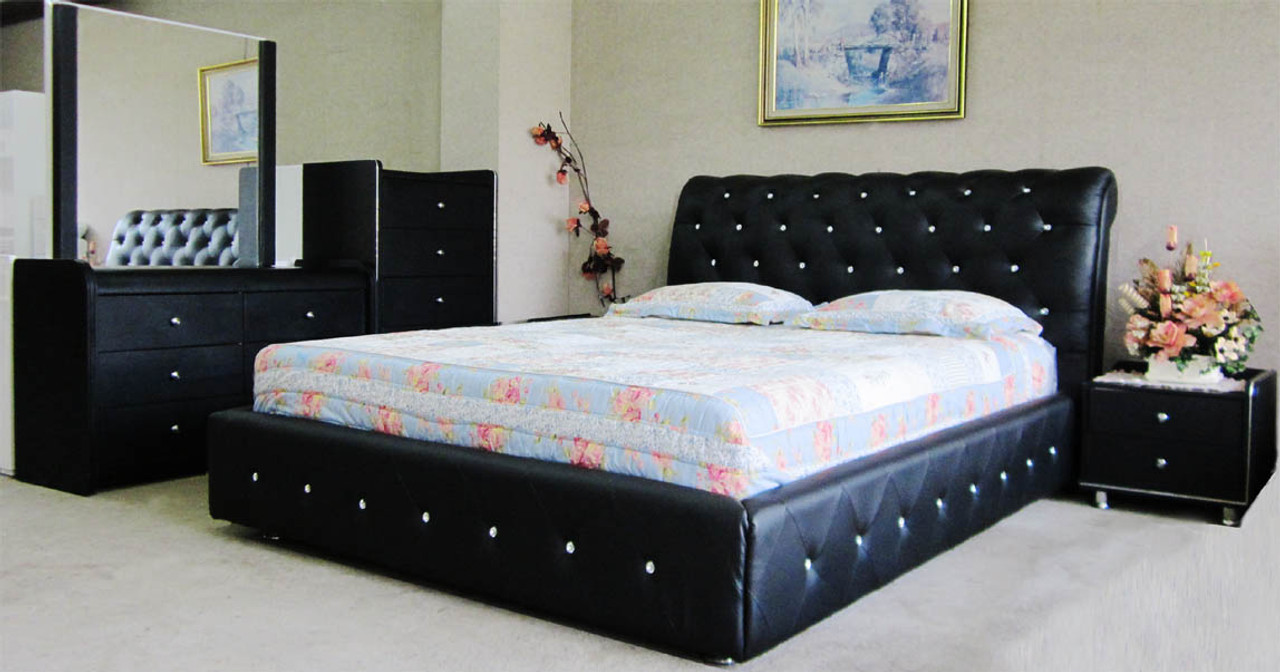 Black Leather bed queen size frame