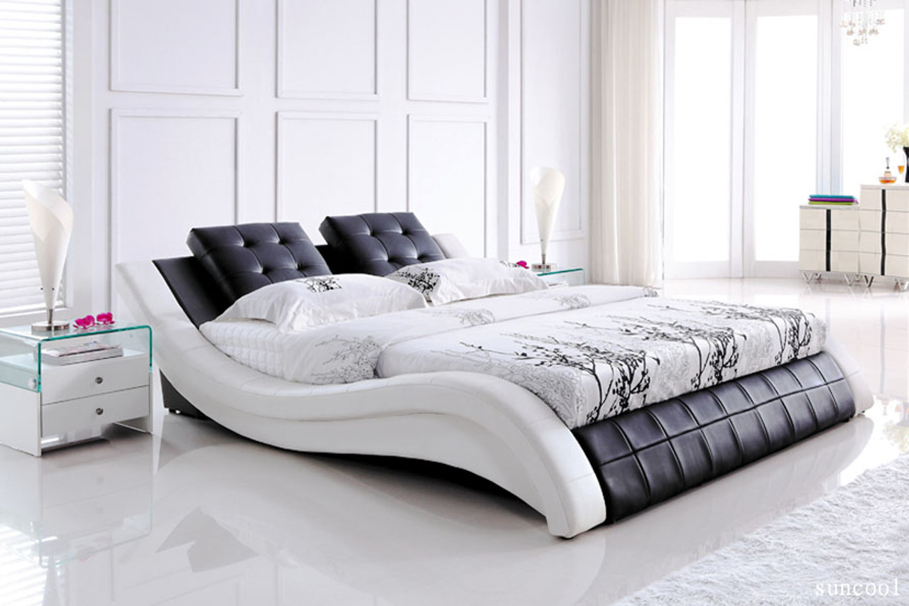 . Super modern leather queen bed