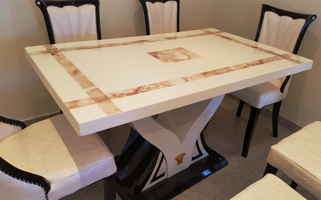 Marble Dining Table And 6 Chairs: Marble Dining 1 Table And 6 Chairs Warehouse Direct Bargain
