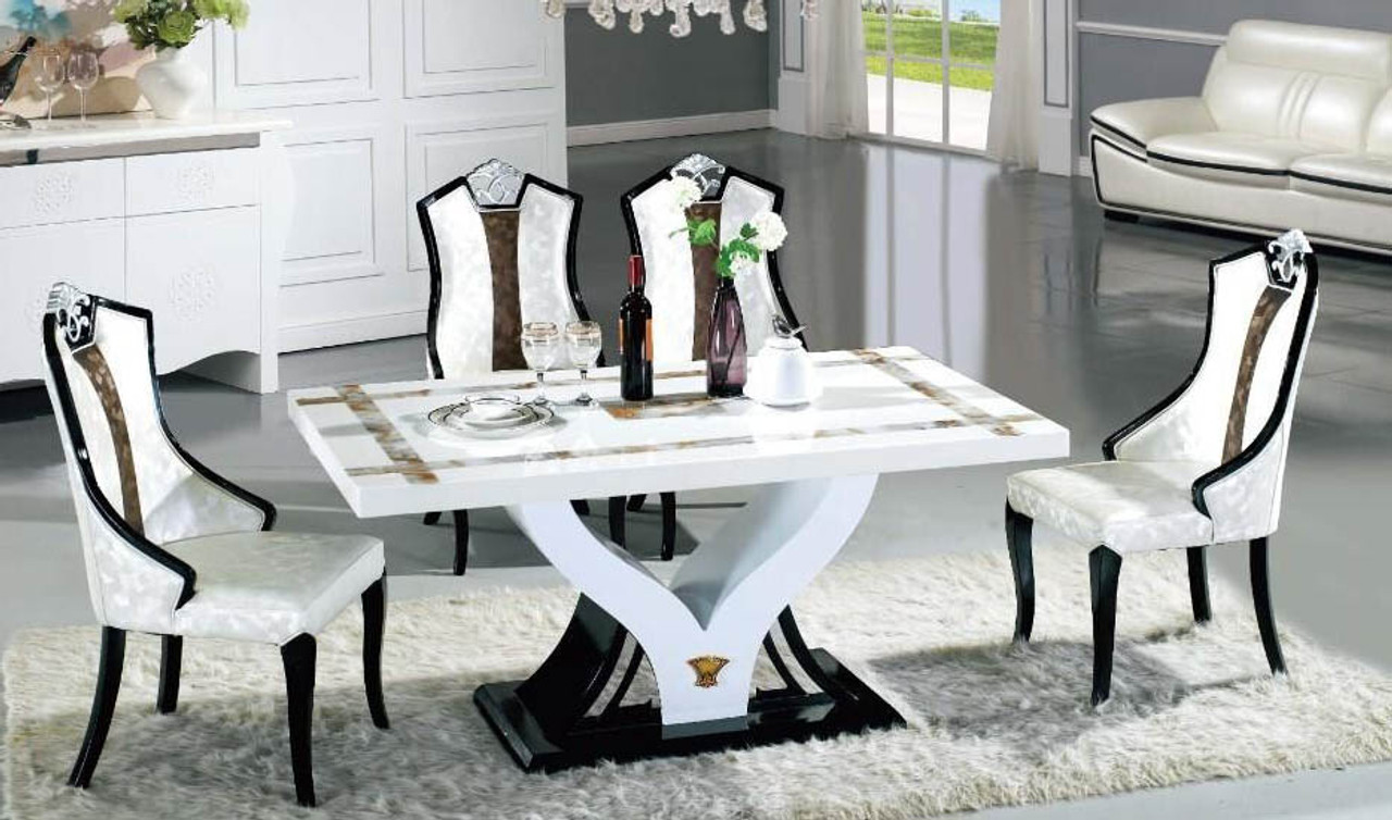 V Marble Dining Table 6 Chairs