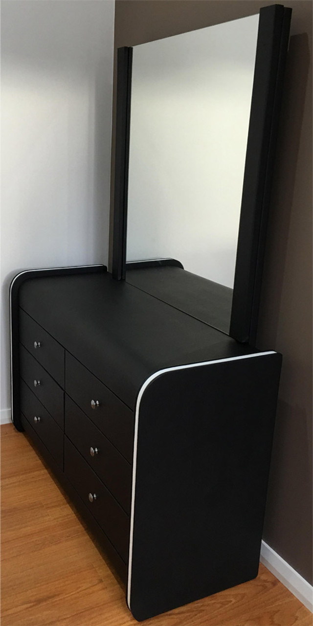info for 24200 b3685 Black leather dresser with white strip