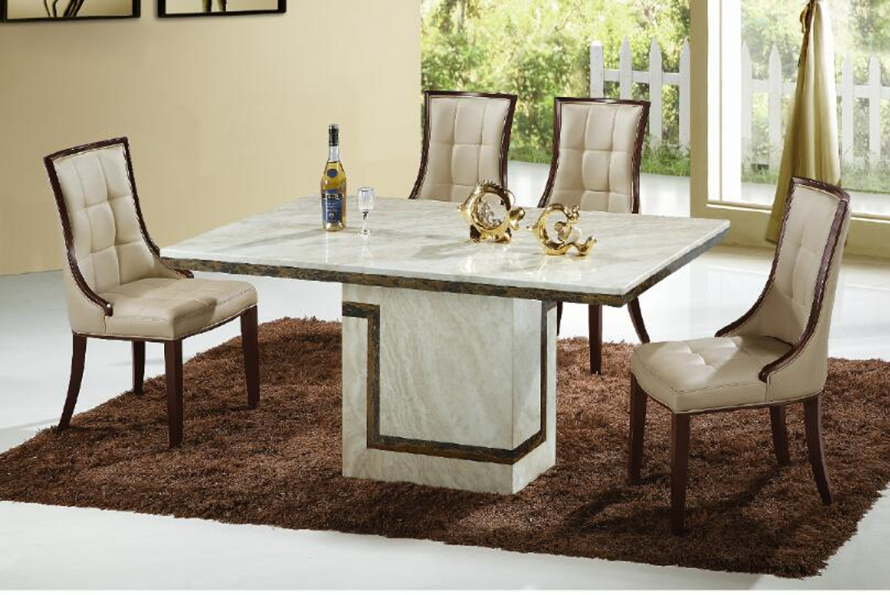 Picture of: Cream Marble Dining Table And 6 Chairs Warehouse Direct Bargain