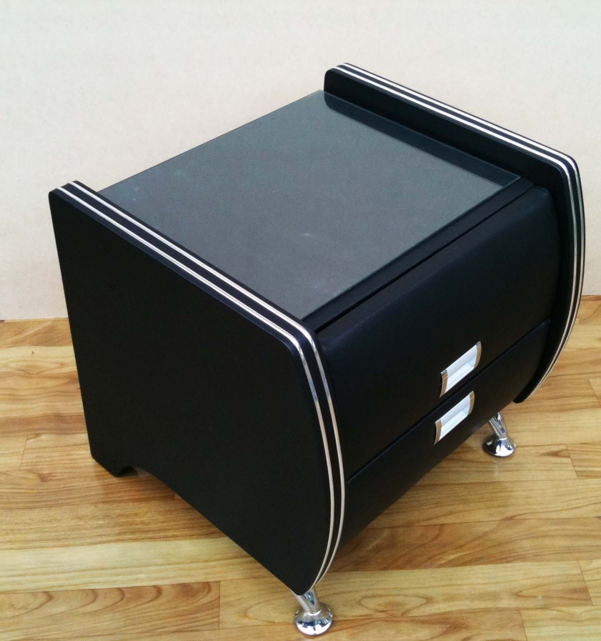 Black leather bedside table with glass · modern bedside tables
