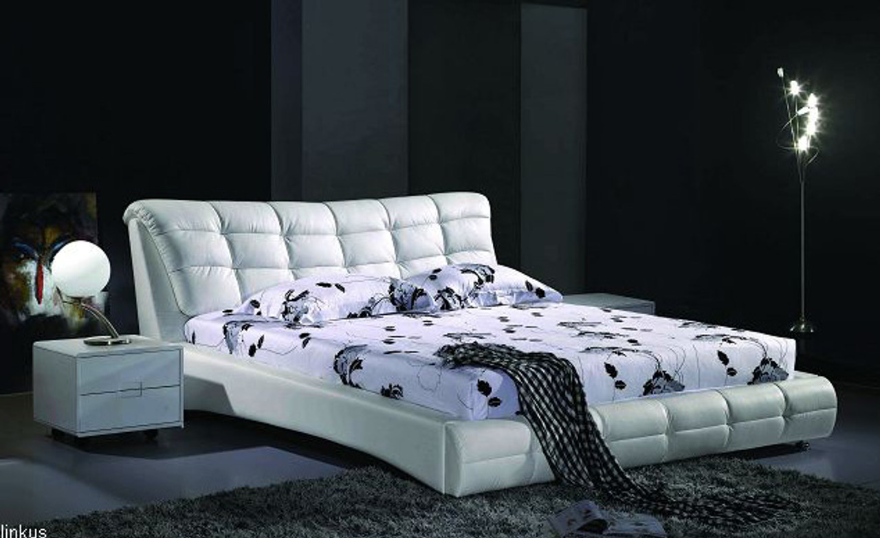 White Leather King Size Bed Melbourne Brisbane Quick Delivery