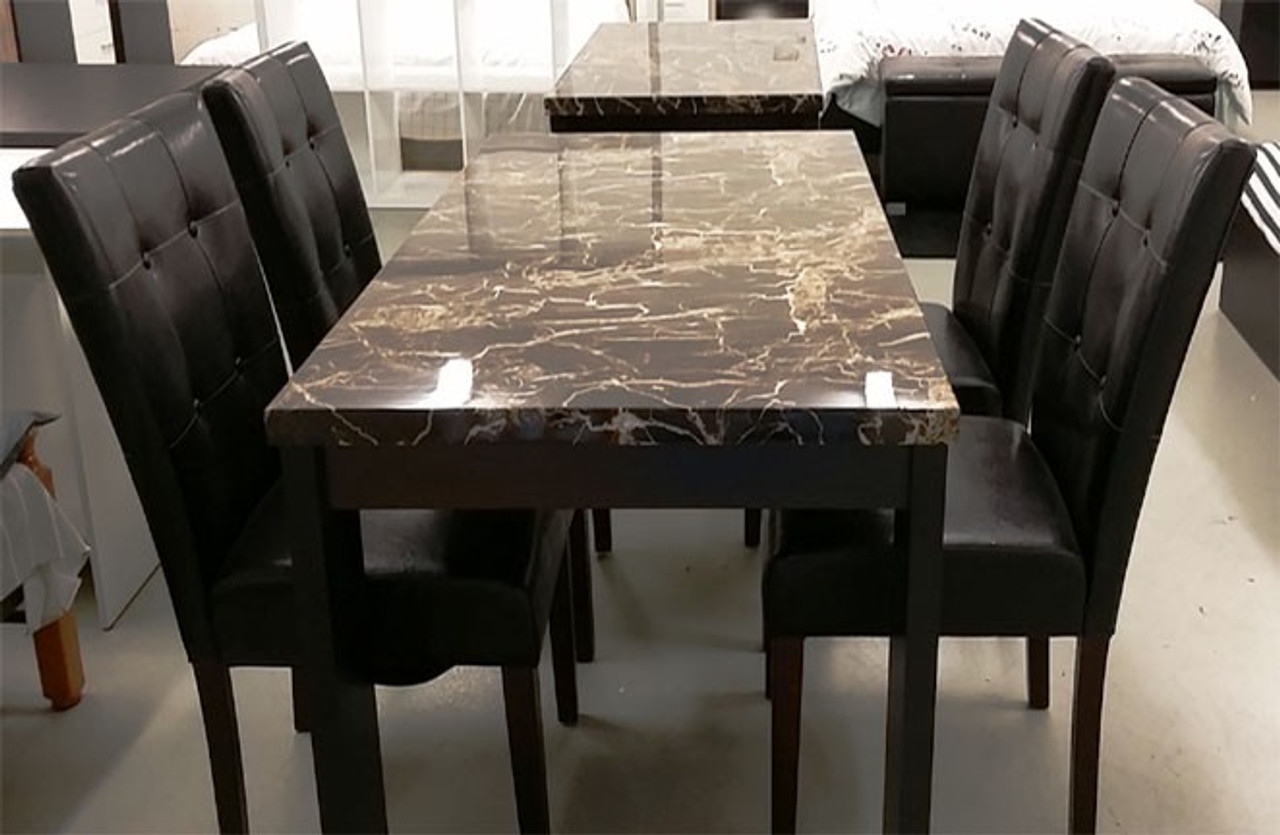 Black Marble Dining Table And 6 Chairs Warehouse Direct Bargain