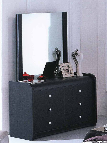Black leather dresser with mirror