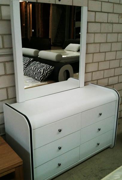 White PU leather dresser