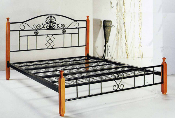queen metal timber legs bed