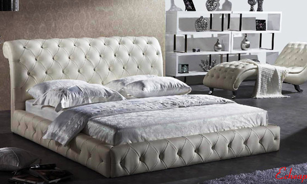 King leather bed diamond button