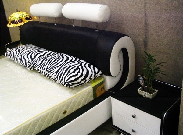 Leather King size bed lift up base Zebra