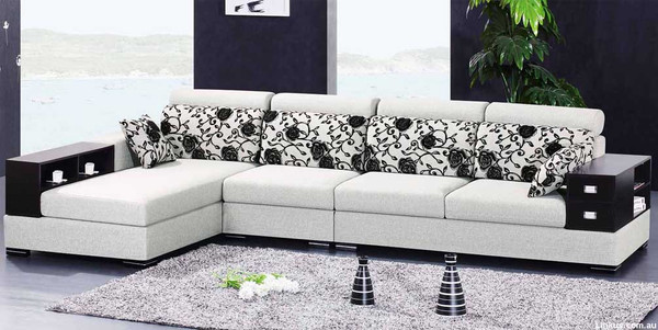 Fabric L shapes sofa with storage unit