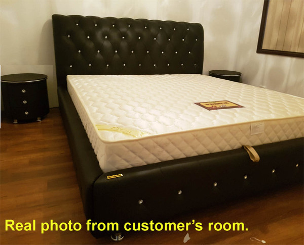 Black king size leather bed frame